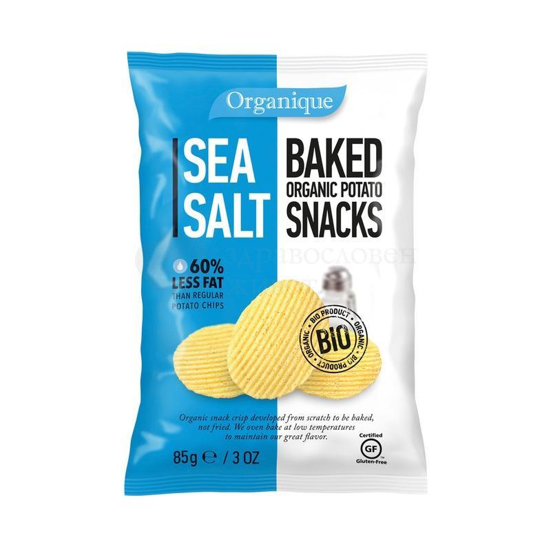 Био печен чипс с морска сол 85гр