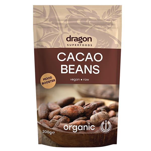 Био Какаови Зърна, цели, сурови, Dragon Superfoods, 200 g
