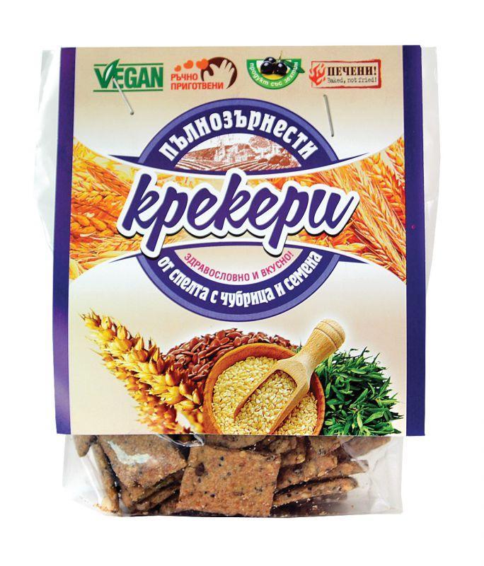 Пълнозърнести крекери от спелта с чубрица и семена 66гр.