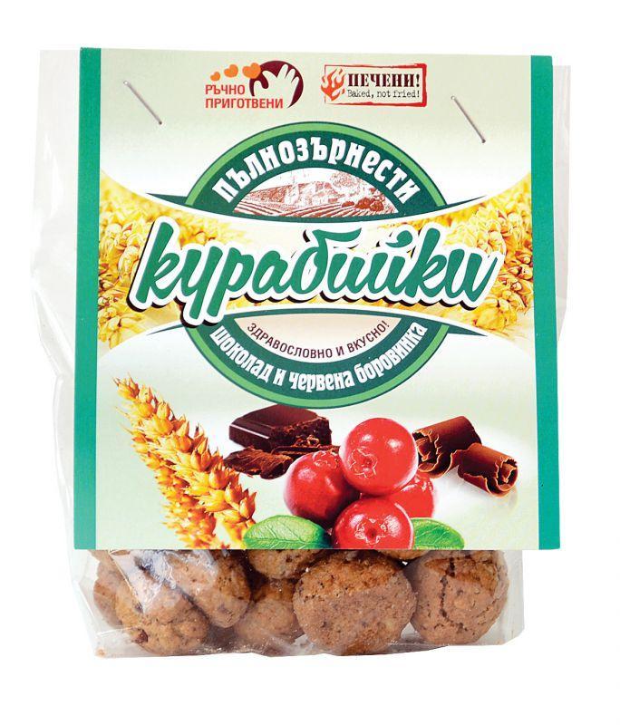 Пълнозърнести курабийки с шоколад и червена боровинка 66 гр.