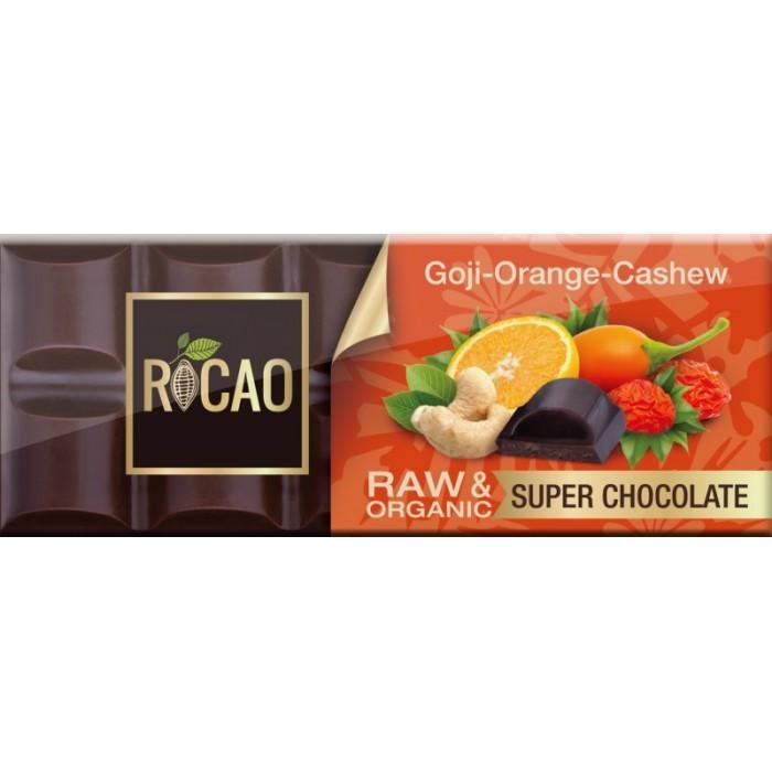Био суров шоколад с годжи бери, кашу и портокалово масло.