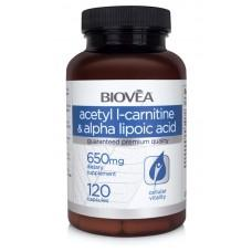 ACETYL L-CARNITINE & ALPHA LIPOIC ACID 650mg 120 капсули