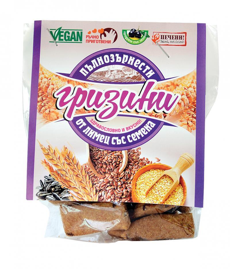 Пълнозърнести гризини от лимец и семена 66 гр.