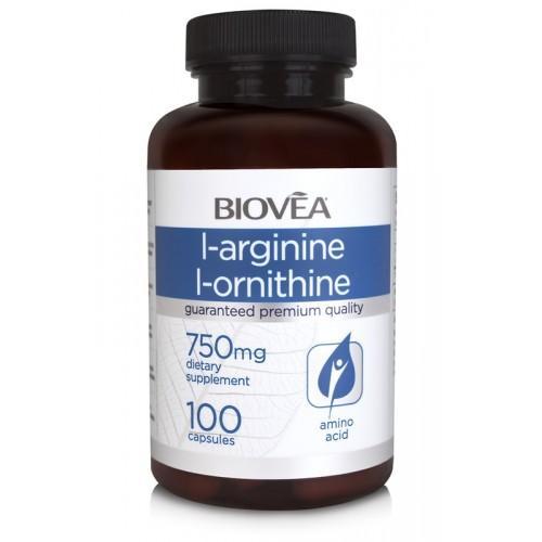 Biovea L-ARGININE / L-ORNITHINE (750mg) 100 капсули