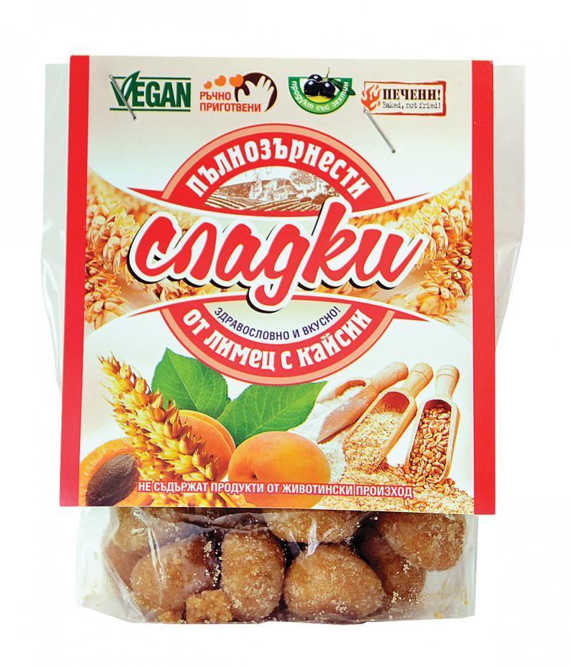 Пълнозърнести сладки от лимец с кайсии 66 гр.