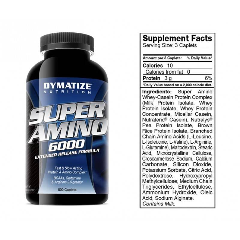 DYMATIZE - Super Amino 6000 - 500 Капсули