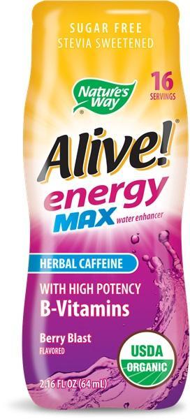 Алайв Енерджи MAX с Билков Кофеин (горски плодове) 64 ml / Обогатител за вода с В-витамини