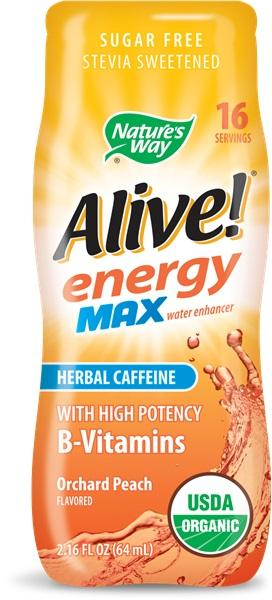 Алайв Енерджи MAX с Билков Кофеин (градинска праскова) 64 ml / Обогатител за вода с В-витамини