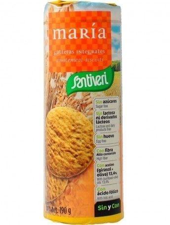 Пълнозърнести Бисквити Мария, без захар, без лактоза, без яйцар 190гр.