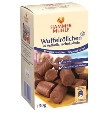 Безглутенови вафлени рулца в млечен шоколад