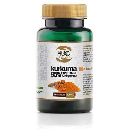 Hug Your Life Куркума 95% екстракт & Биопиперин - 400mg